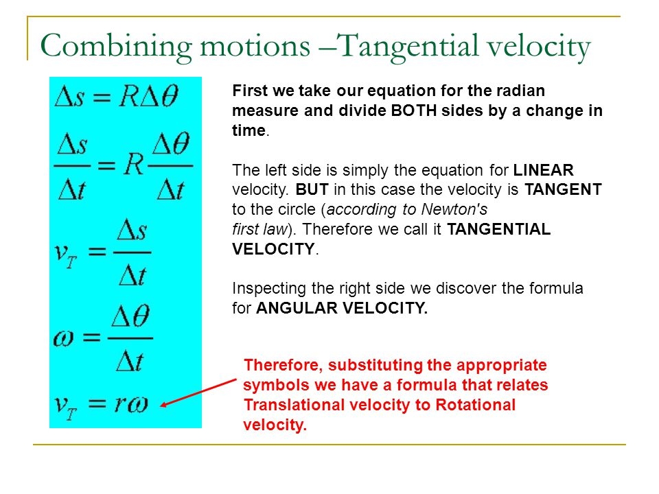 Combining motions –Tangential velocity