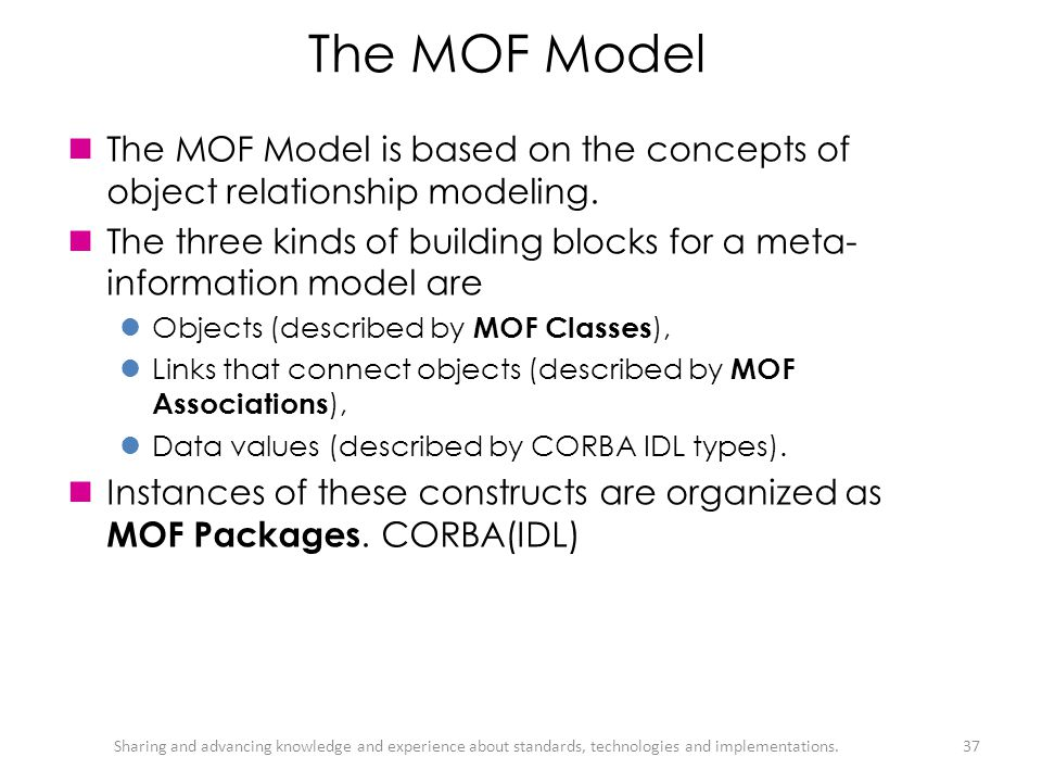 The MOF Model The MOF Model is based on the concepts of object relationship modeling.
