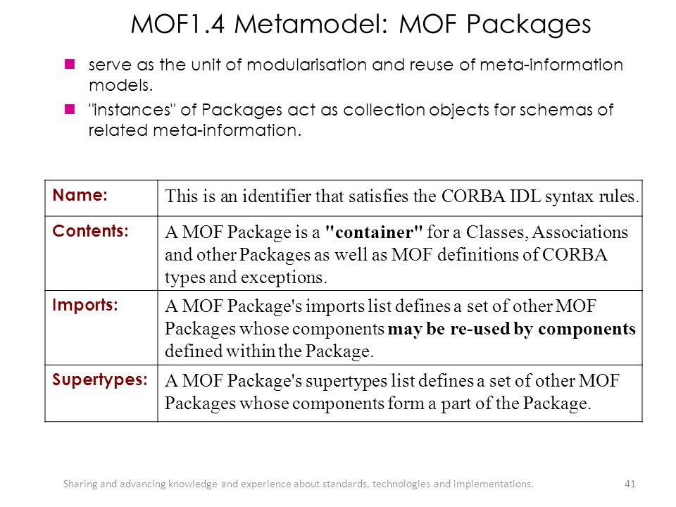 MOF1.4 Metamodel: MOF Packages