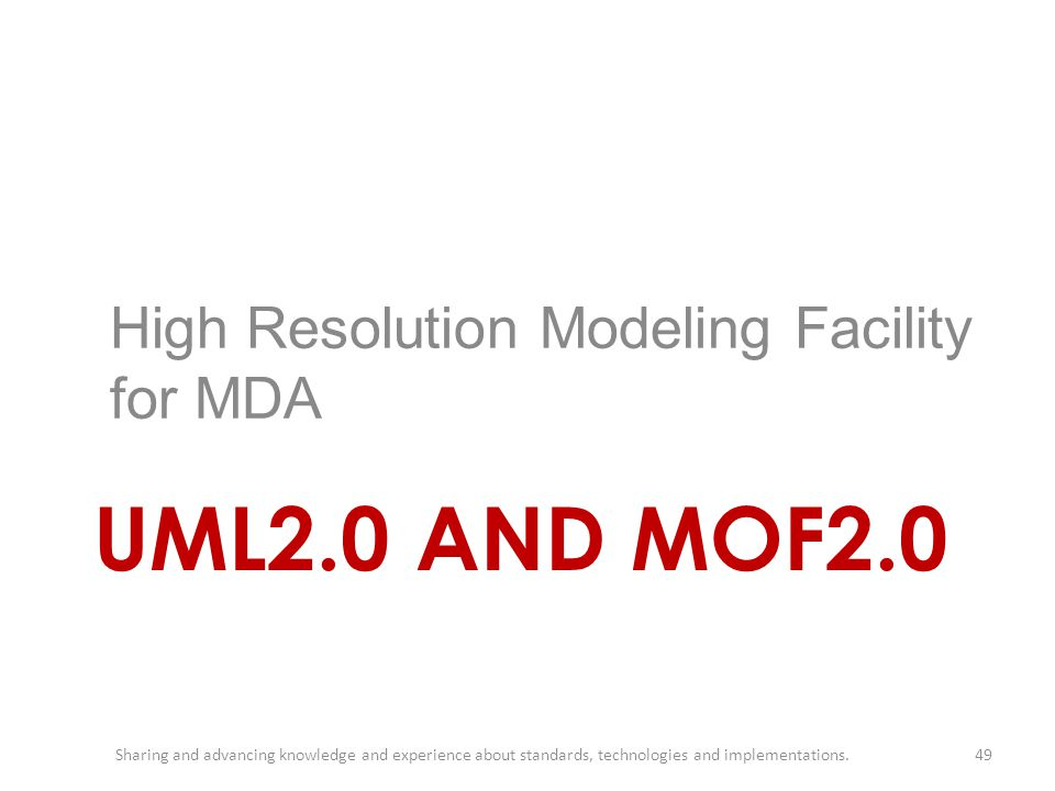 UML2.0 AND MOF2.0 High Resolution Modeling Facility for MDA