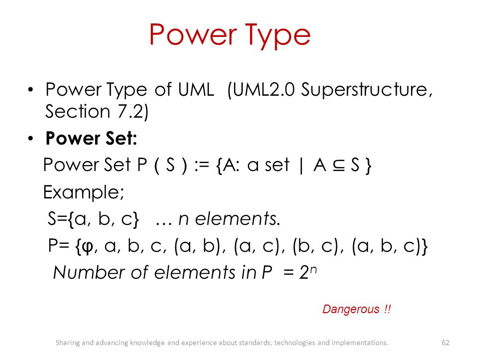 Power Type Power Type of UML (UML2.0 Superstructure, Section 7.2)