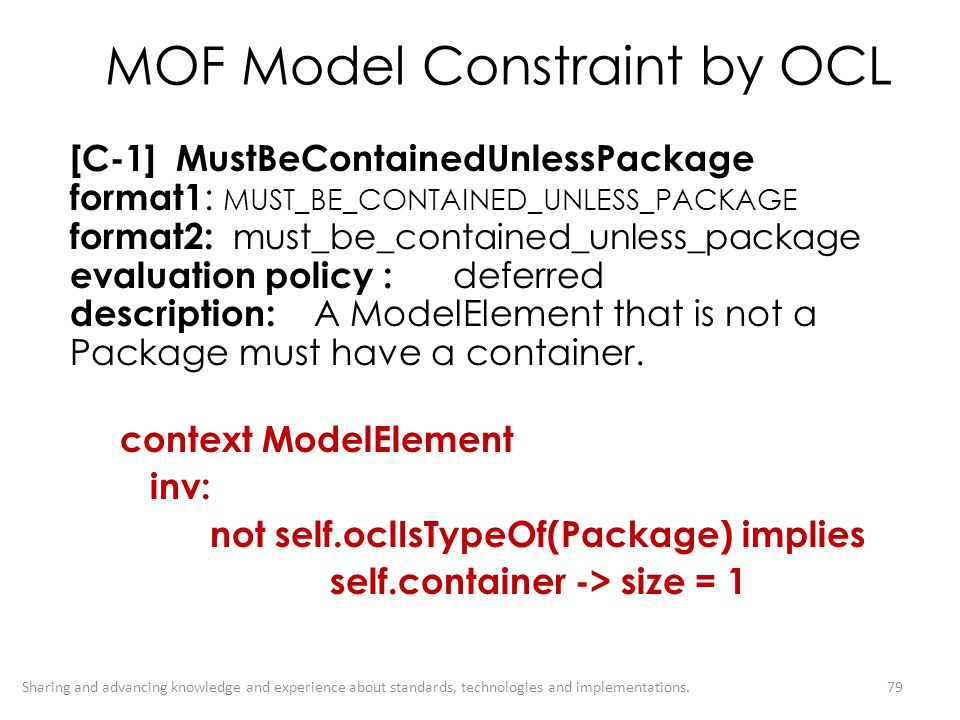 MOF Model Constraint by OCL