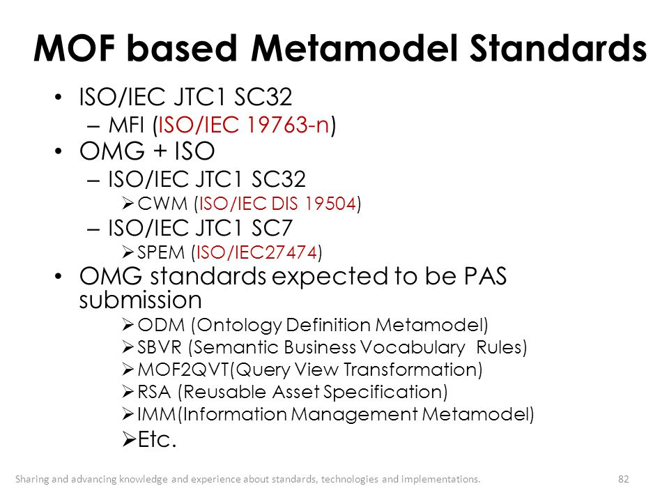 MOF based Metamodel Standards