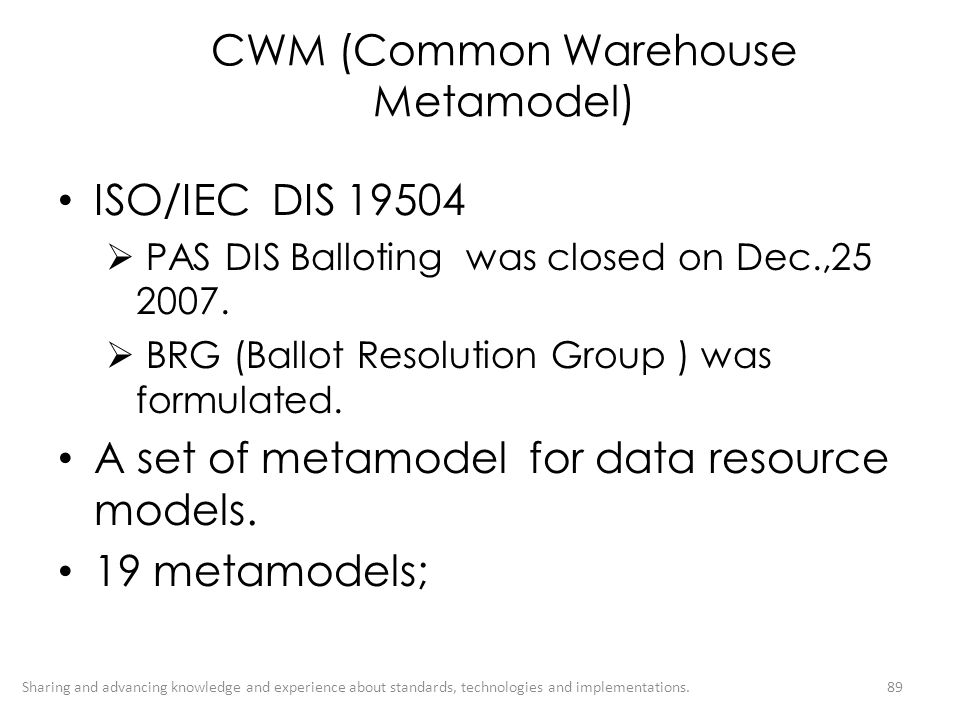CWM (Common Warehouse Metamodel)