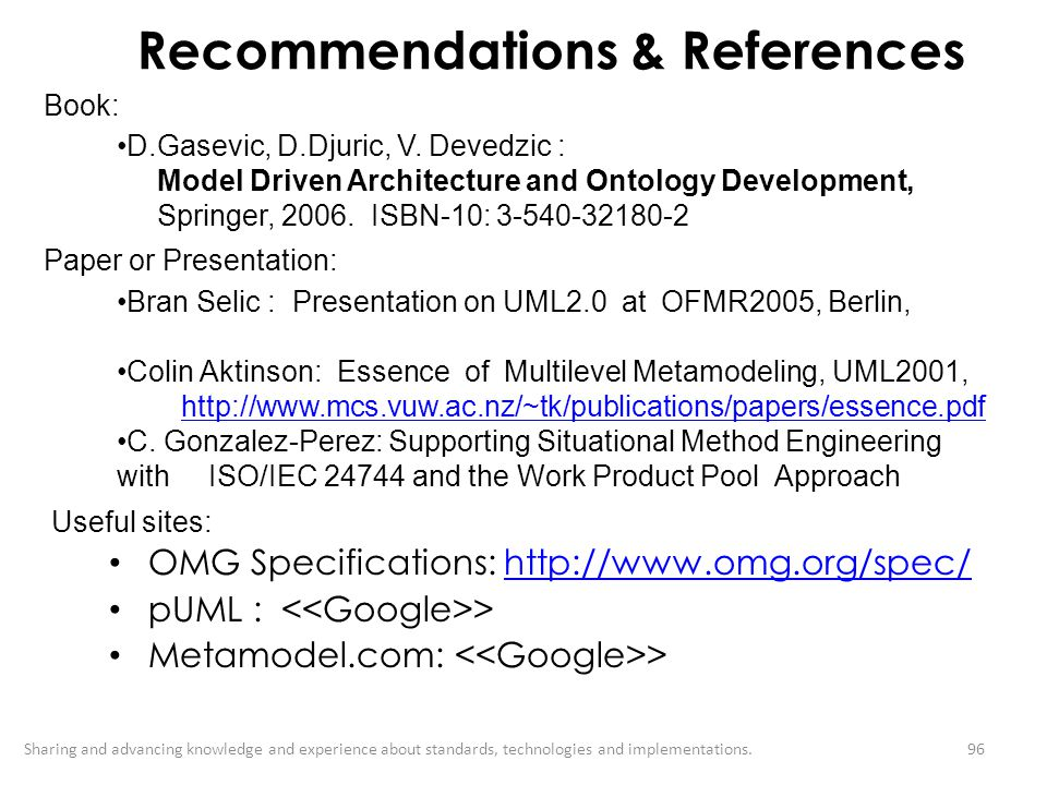 Recommendations & References