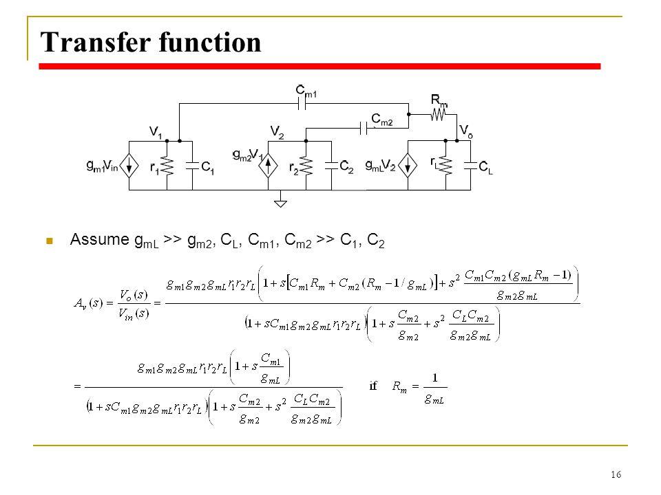 Transfer function Assume gmL >> gm2, CL, Cm1, Cm2 >> C1, C2