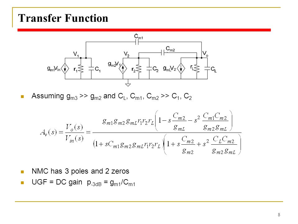 Transfer Function Assuming gm3 >> gm2 and CL, Cm1, Cm2 >> C1, C2.