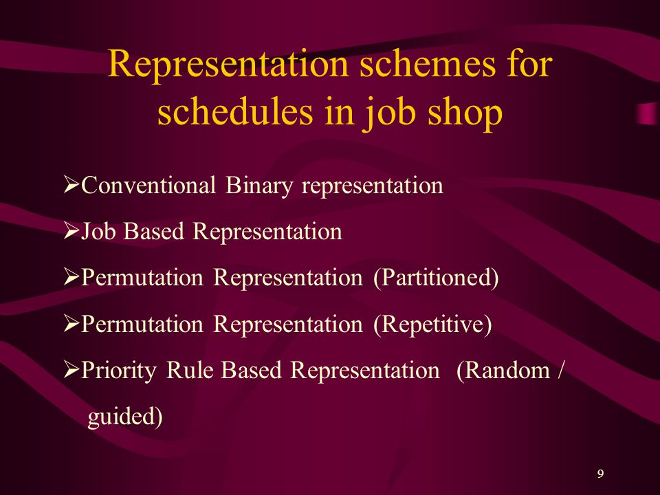 Representation schemes for schedules in job shop