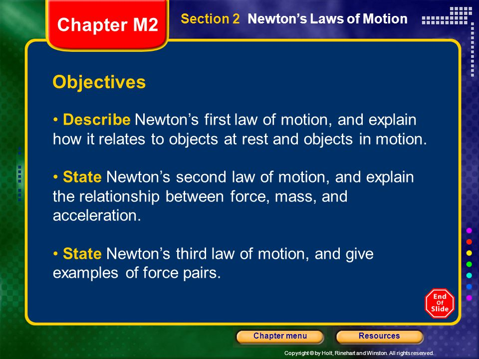 Chapter M2 Section 2 Newton's Laws of Motion. Objectives.