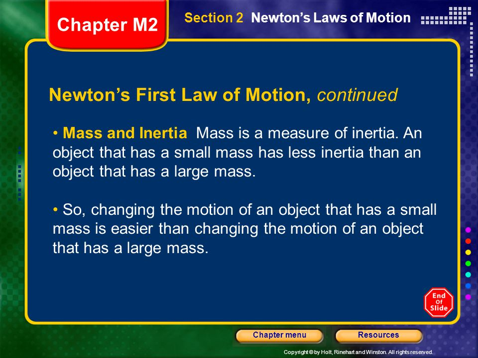 Newton's First Law of Motion, continued