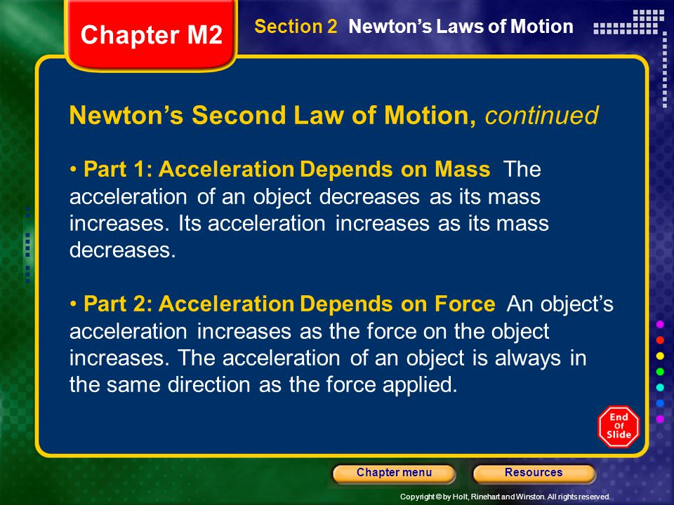 Newton's Second Law of Motion, continued