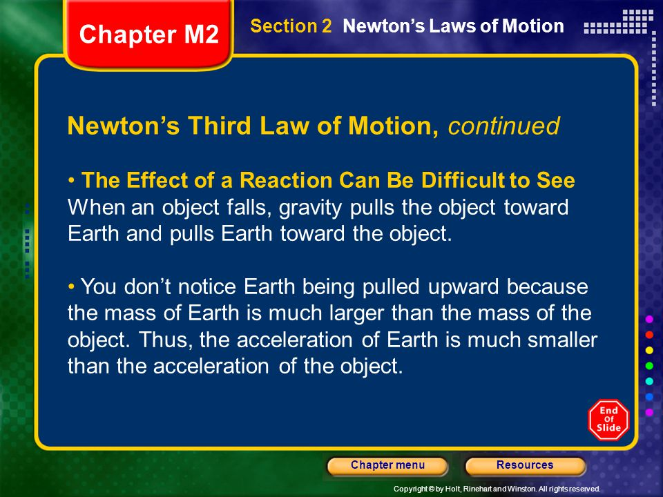 Newton's Third Law of Motion, continued