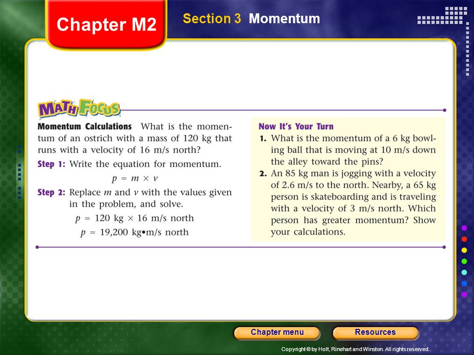 Chapter M2 Section 3 Momentum
