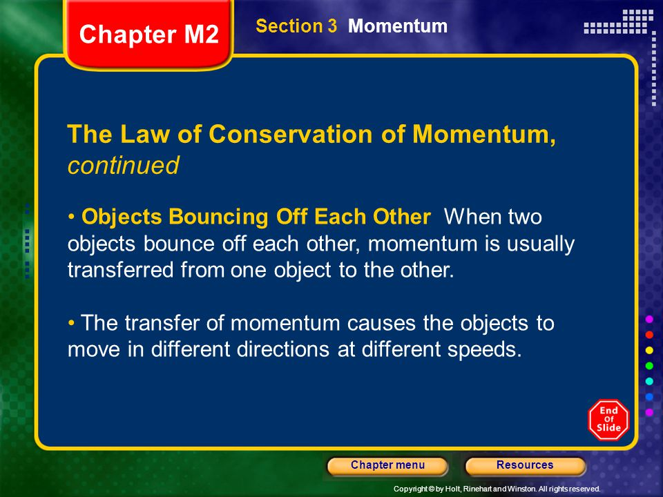 The Law of Conservation of Momentum, continued