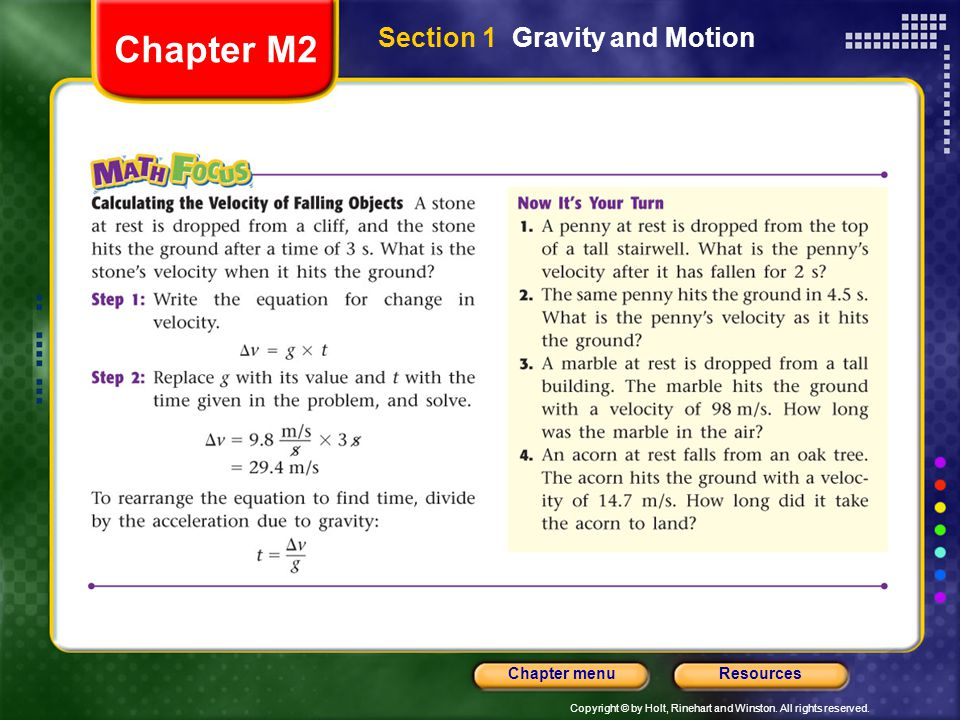 Chapter M2 Section 1 Gravity and Motion