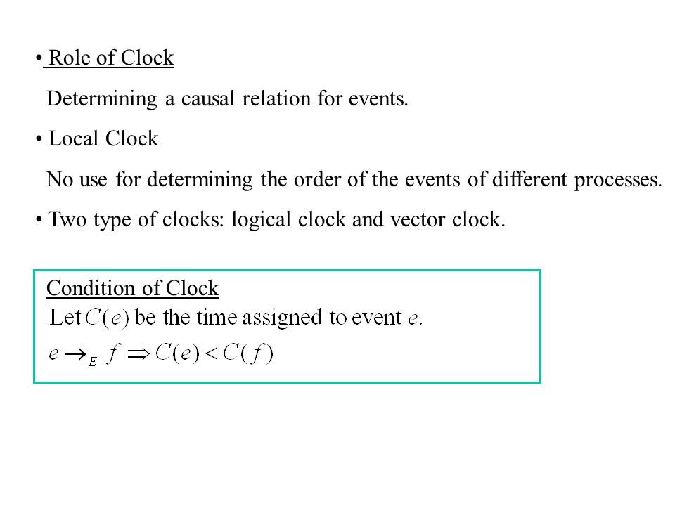 Role of Clock Determining a causal relation for events. Local Clock. No use for determining the order of the events of different processes.