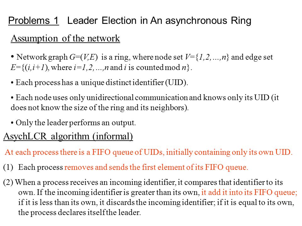 Problems 1 Leader Election in An asynchronous Ring