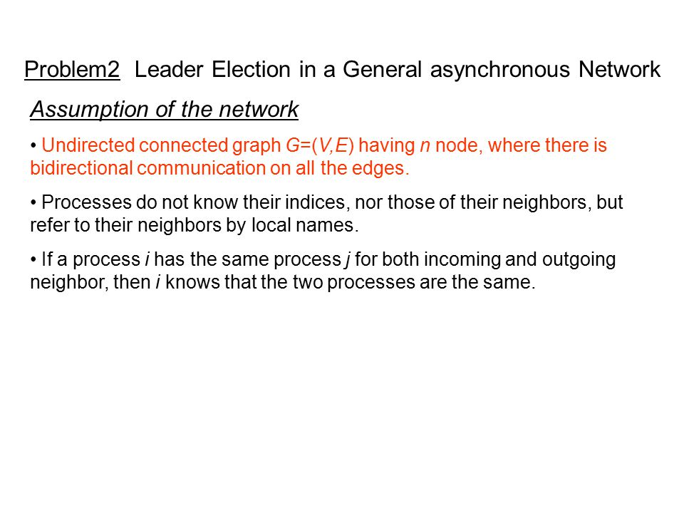 Problem2 Leader Election in a General asynchronous Network