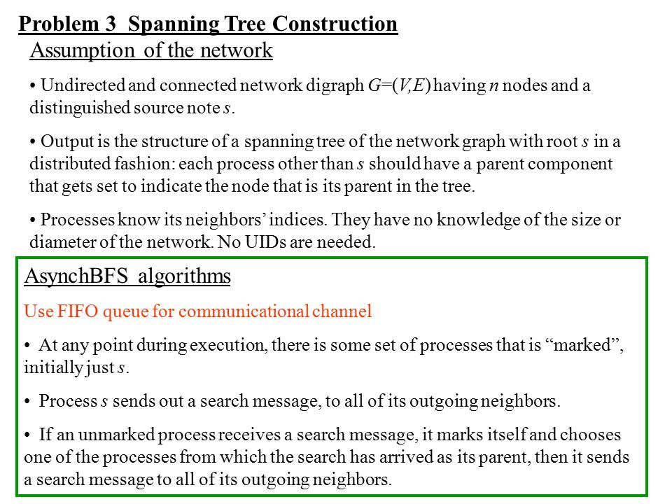 Problem 3 Spanning Tree Construction Assumption of the network
