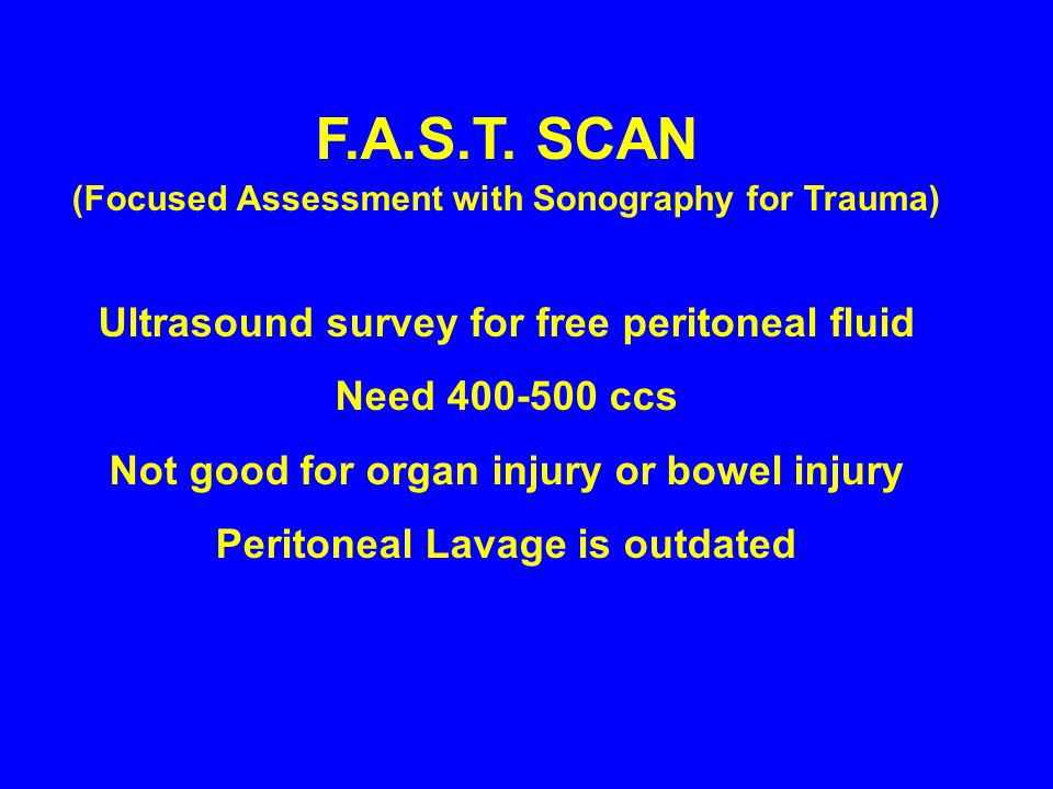 F.A.S.T. SCAN Ultrasound survey for free peritoneal fluid