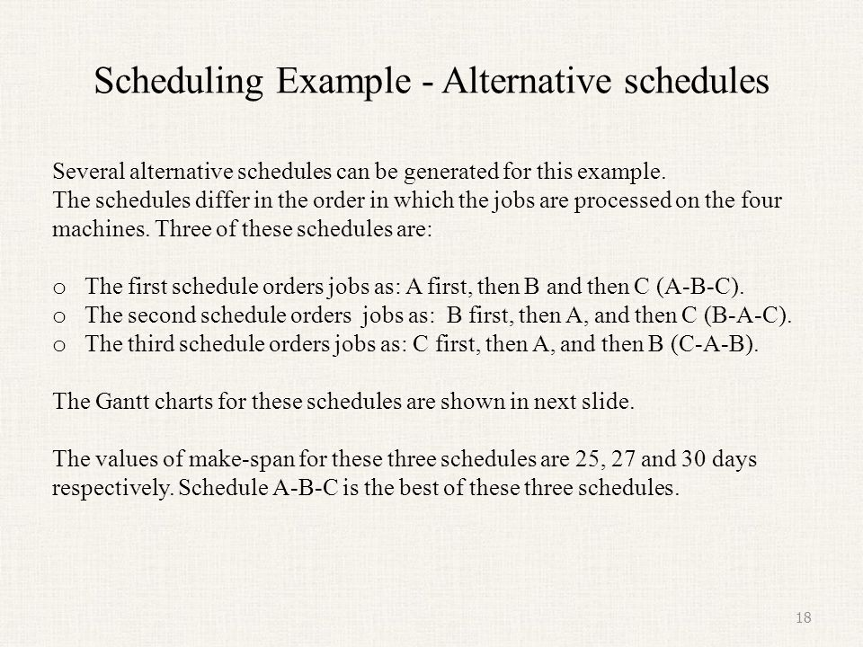 Scheduling Example - Alternative schedules