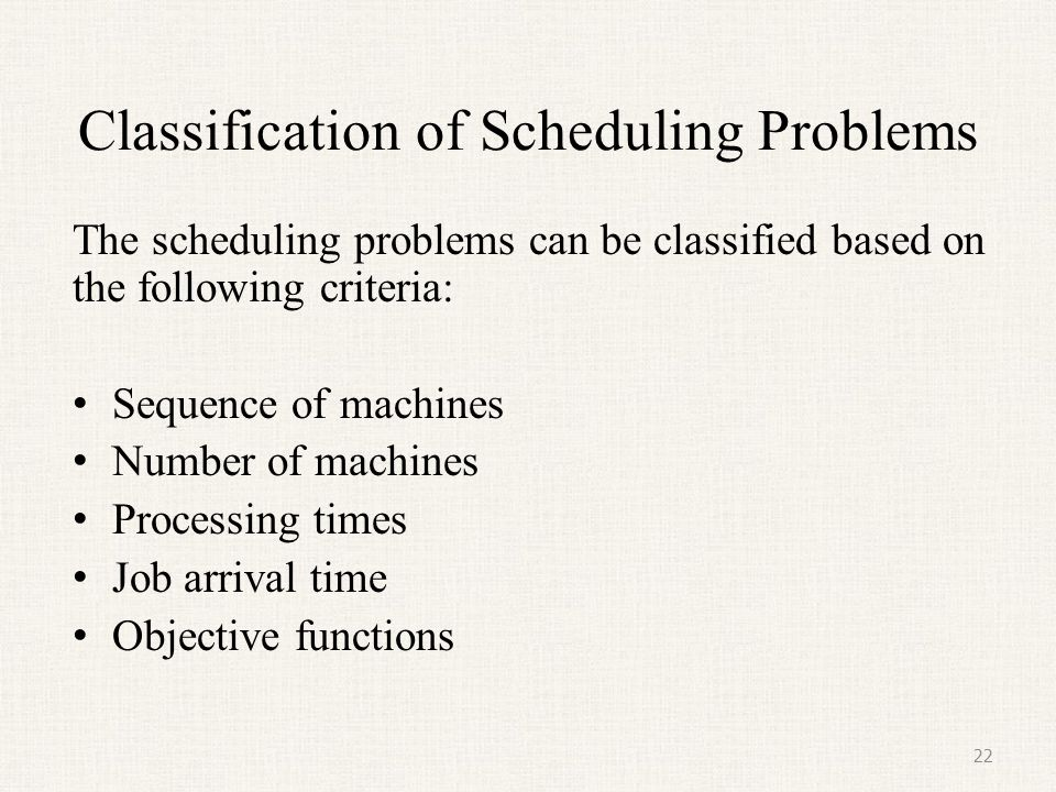 Classification of Scheduling Problems