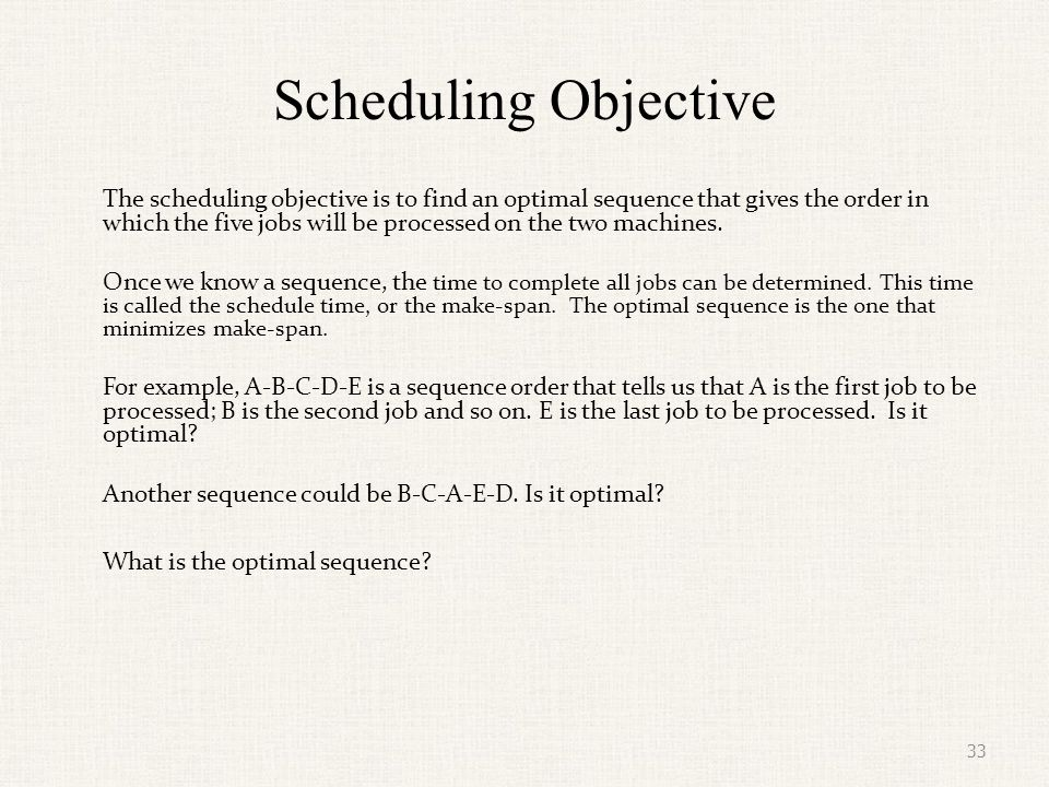Scheduling Objective