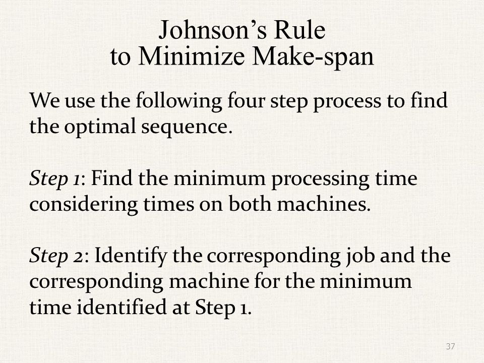 Johnson's Rule to Minimize Make-span