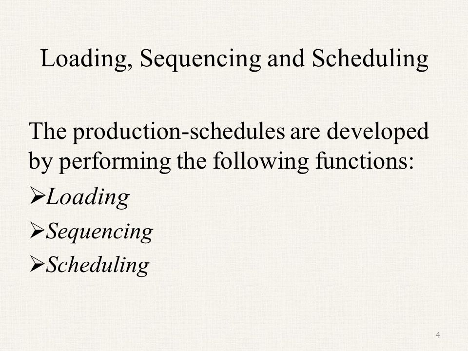 Loading, Sequencing and Scheduling