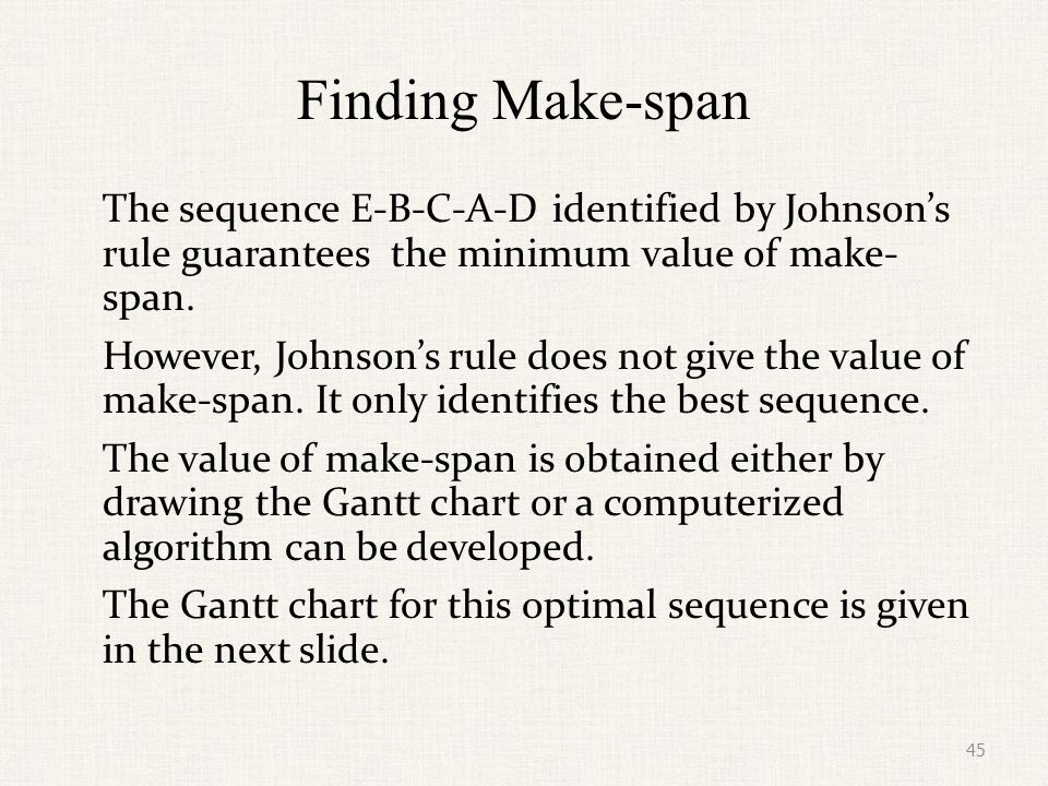 Finding Make-span