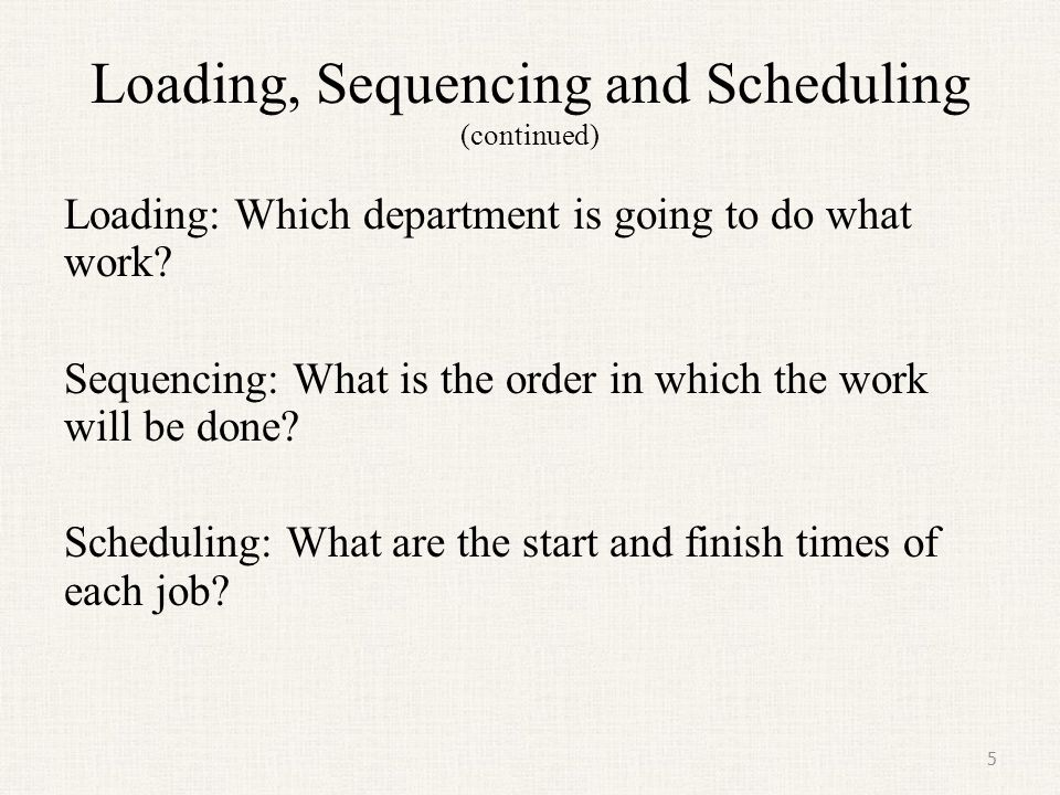 Loading, Sequencing and Scheduling (continued)