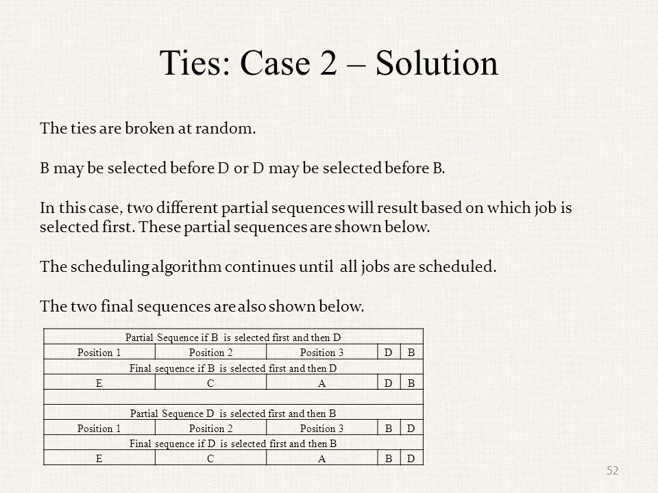 Ties: Case 2 – Solution The ties are broken at random.