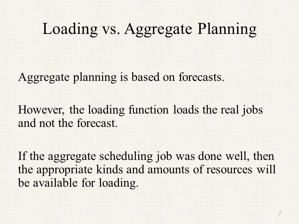 Loading vs. Aggregate Planning