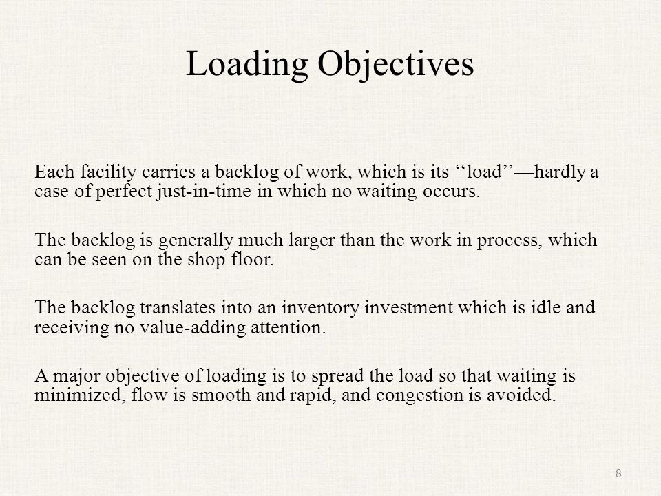 Loading Objectives Each facility carries a backlog of work, which is its ''load''—hardly a case of perfect just-in-time in which no waiting occurs.