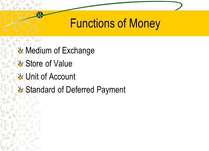 Functions of Money Medium of Exchange Store of Value Unit of Account