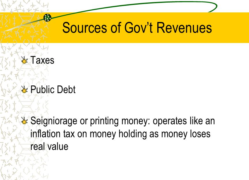 Sources of Gov't Revenues