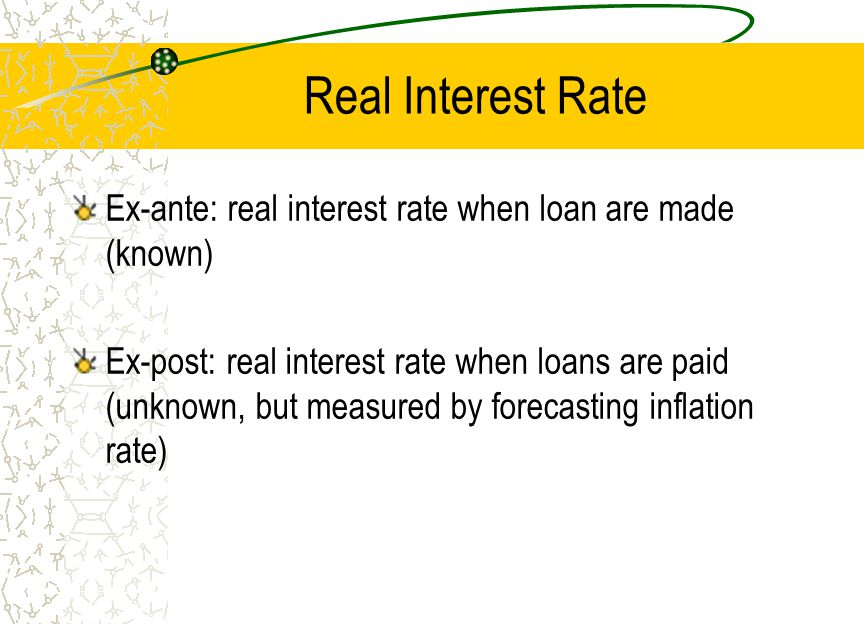 Real Interest Rate Ex-ante: real interest rate when loan are made (known)