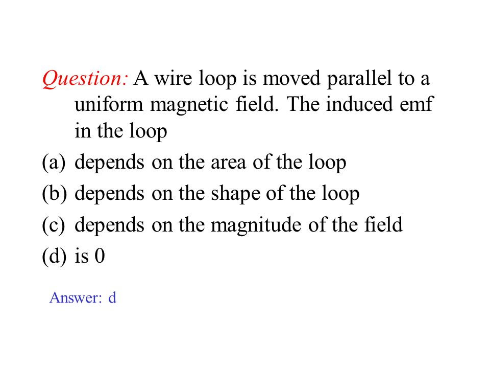 depends on the area of the loop depends on the shape of the loop