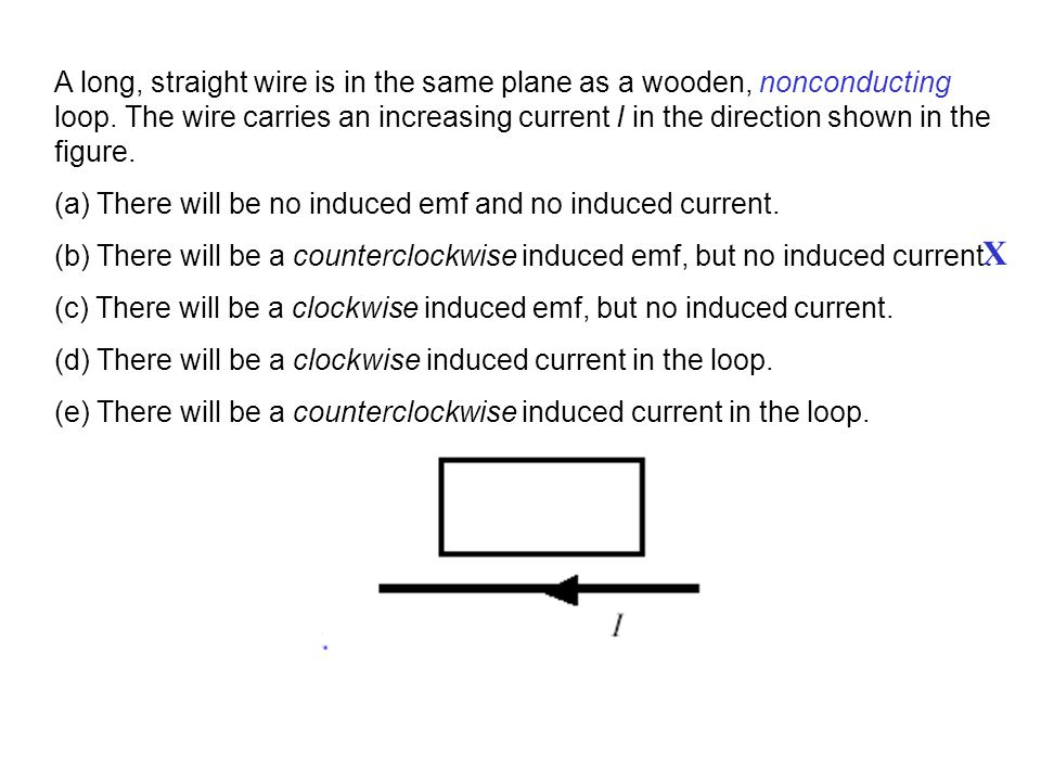 A long, straight wire is in the same plane as a wooden, nonconducting loop. The wire carries an increasing current I in the direction shown in the figure.