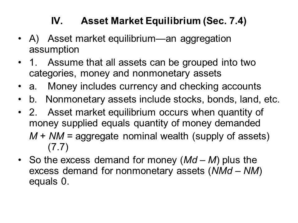 IV. Asset Market Equilibrium (Sec. 7.4)