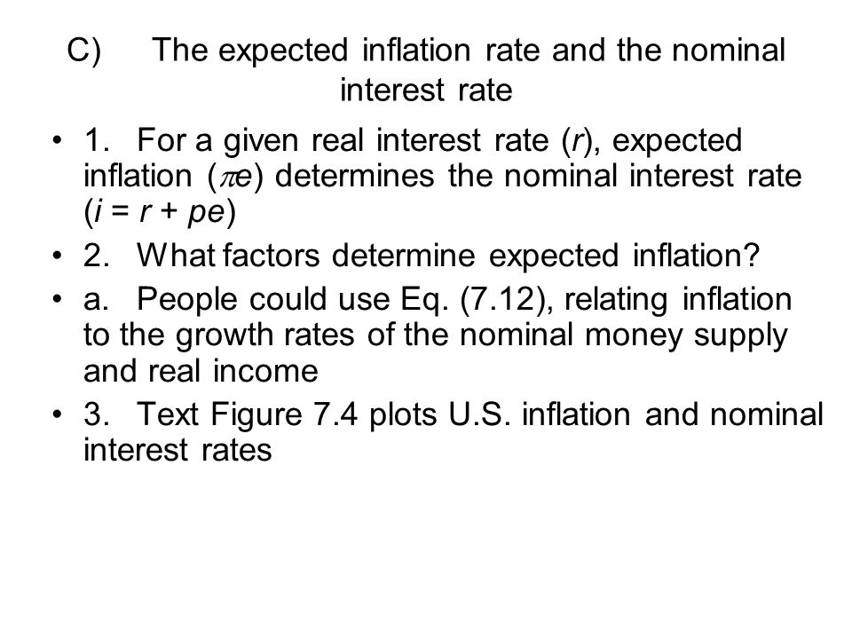 C) The expected inflation rate and the nominal interest rate