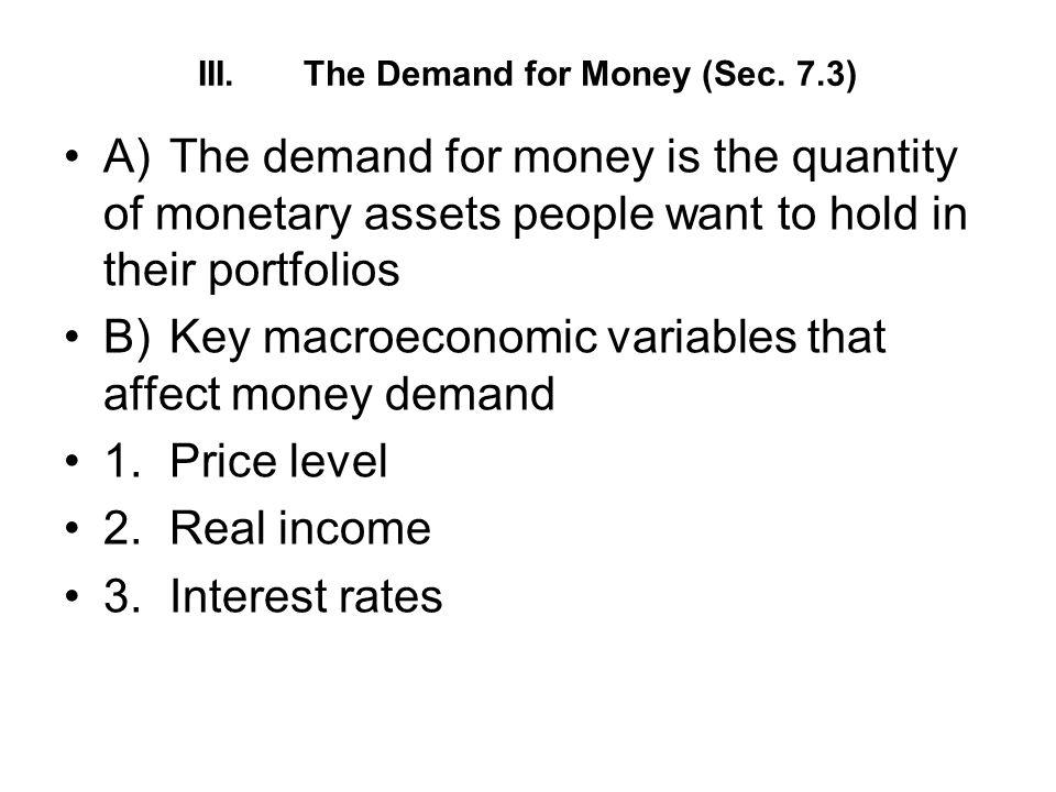 III. The Demand for Money (Sec. 7.3)