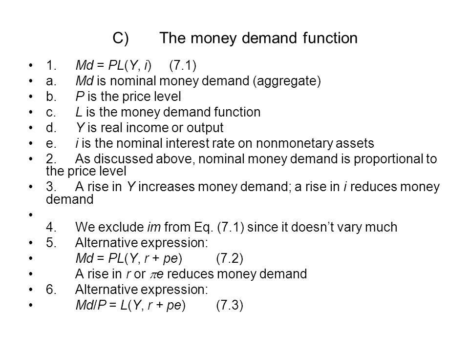 C) The money demand function