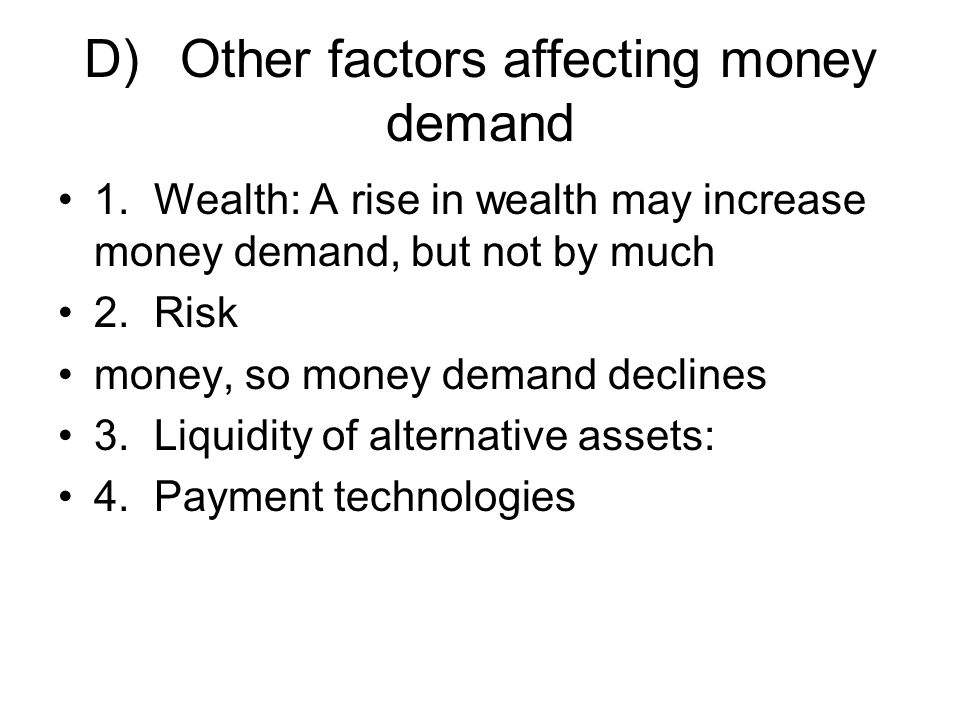 D) Other factors affecting money demand