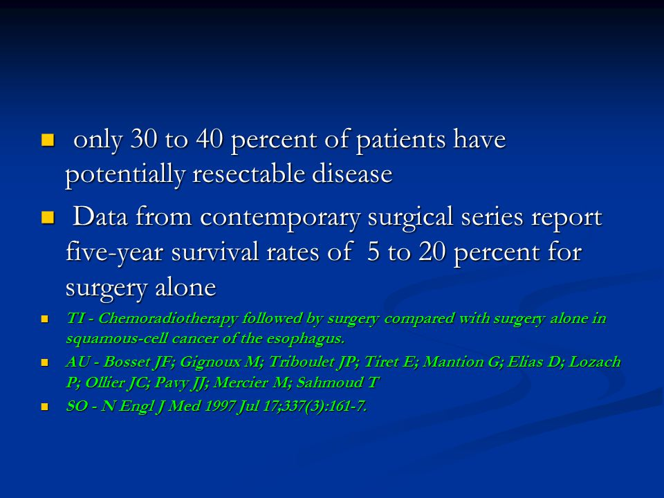 only 30 to 40 percent of patients have potentially resectable disease