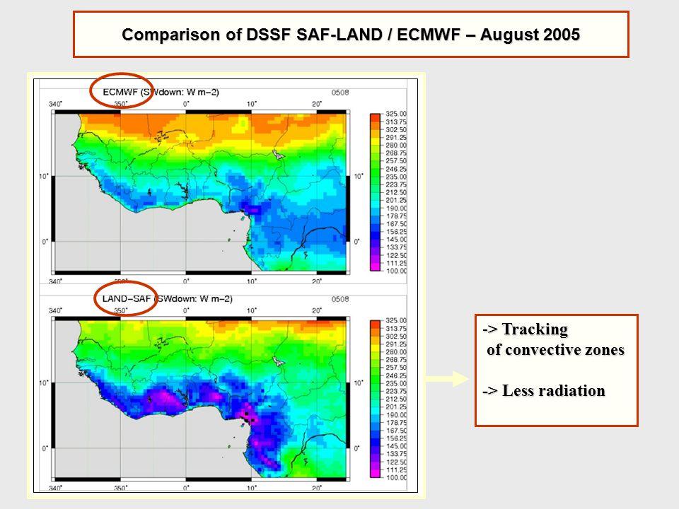 Comparison of DSSF SAF-LAND / ECMWF – August 2005