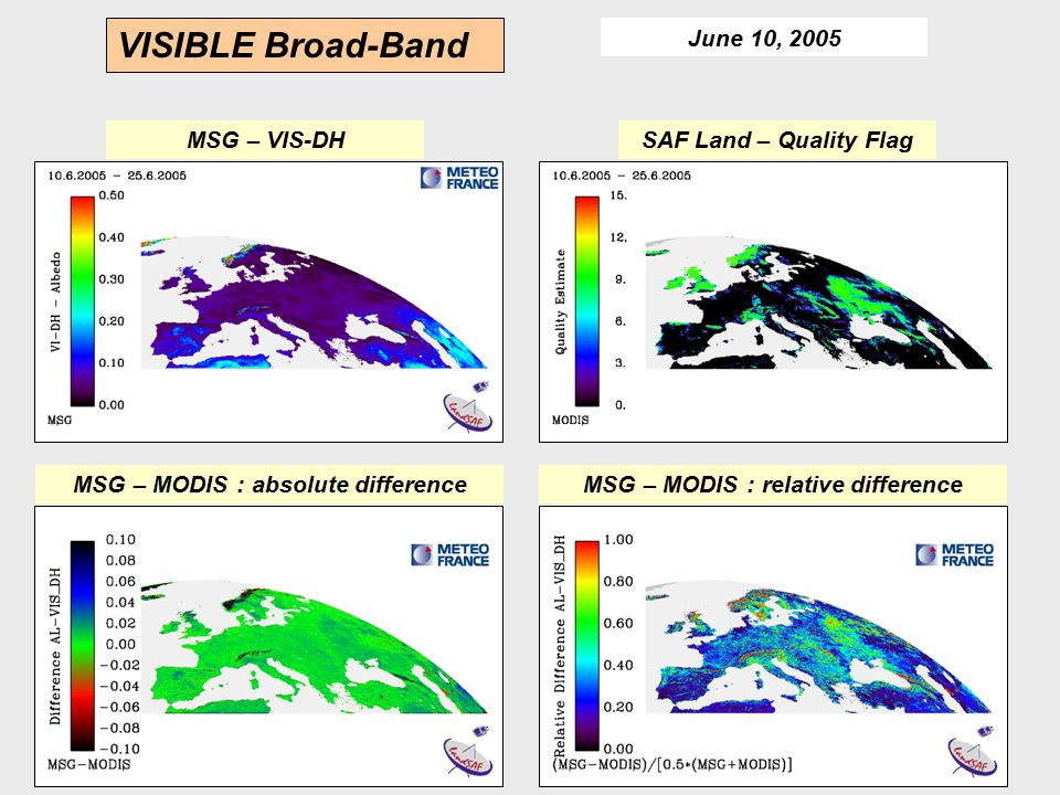 MSG – MODIS : absolute difference MSG – MODIS : relative difference