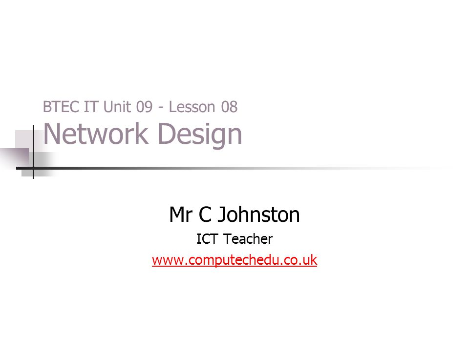 Mr C Johnston ICT Teacher www.computechedu.co.uk