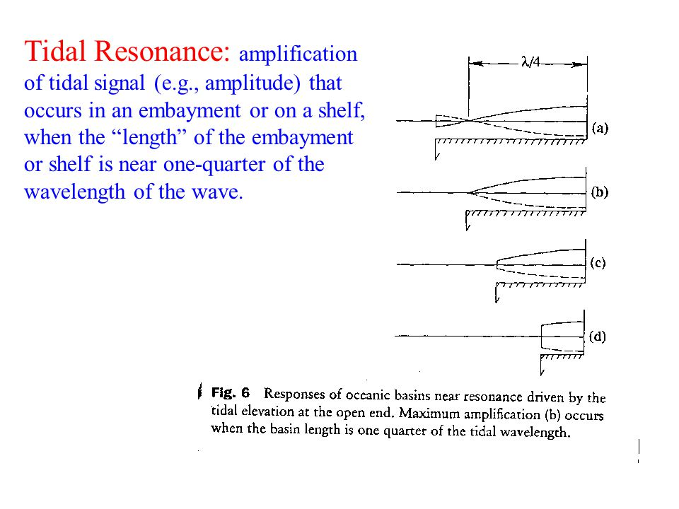 Tidal Resonance: amplification of tidal signal (e. g