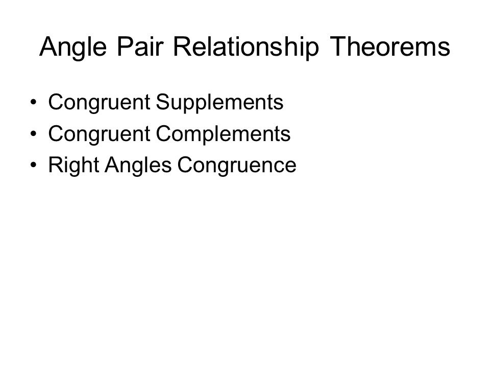Angle Pair Relationship Theorems